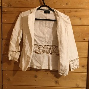 White blazer with lace